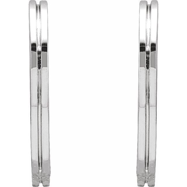 14K White 15 mm Grooved Huggie Earrings