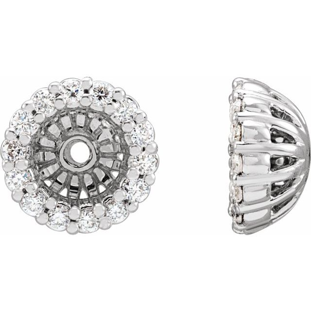 14K White 1/6 CTW Diamond Earring Jackets with 4.1 mm ID