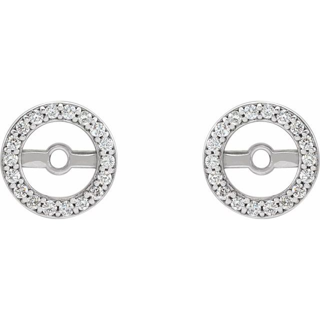 14K White .08 CTW Diamond Earring Jackets with 4.6 mm ID