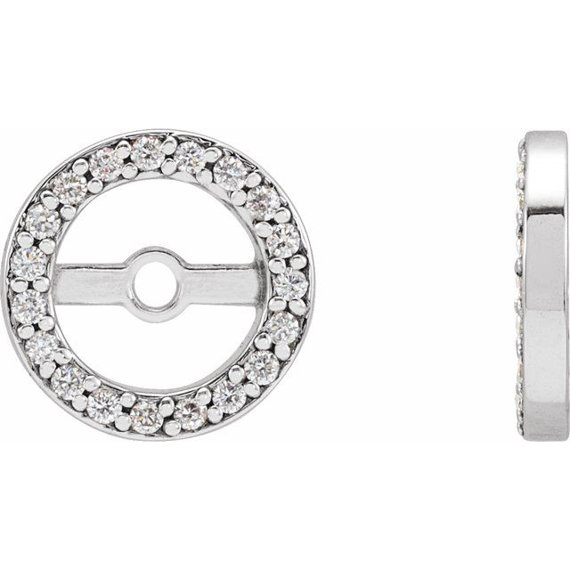 14K White 1/8 CTW Diamond Earring Jackets with 5.3 mm ID