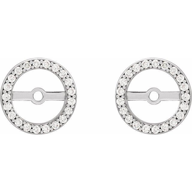 Platinum 1/10 CTW Diamond Earring Jackets with 6.1 mm ID