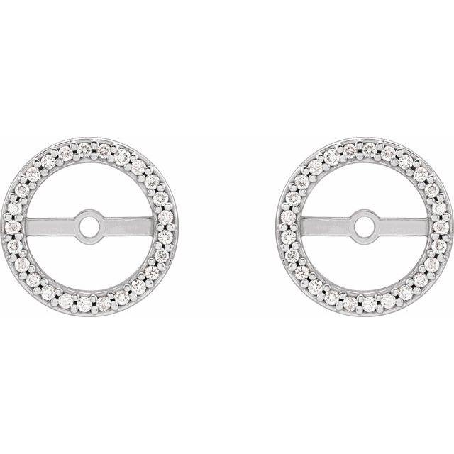 14K White 1/8 CTW Diamond Earring Jackets with 7 mm ID