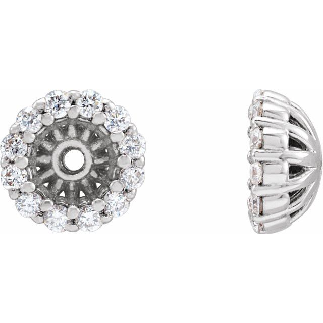 14K White 1/8 CTW Diamond Earring Jackets with 3.6 mm ID