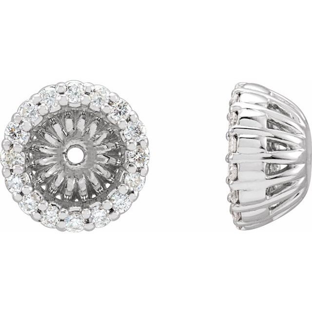 14K White 1/6 CTW Diamond Earring Jackets with 4.6 mm ID
