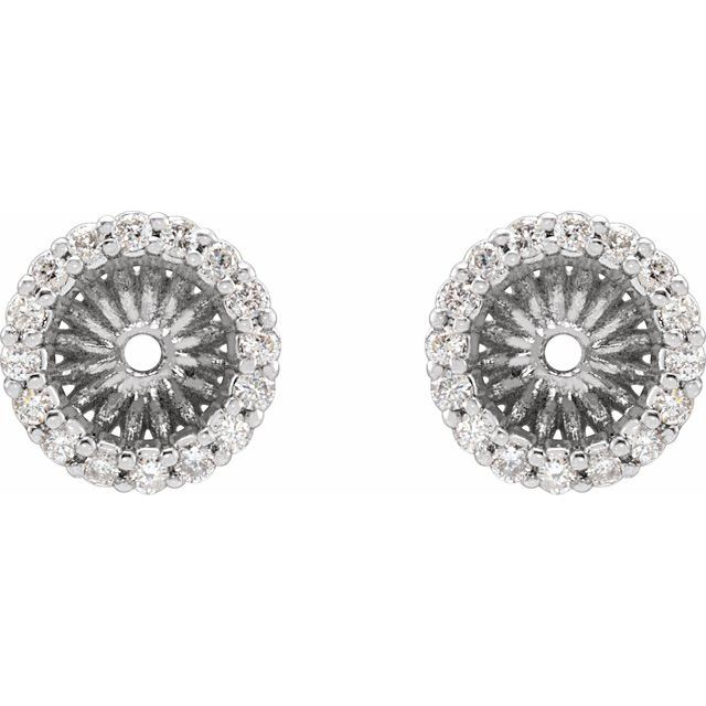 14K White 1/6 CTW Diamond Earring Jackets with 5.1 mm ID