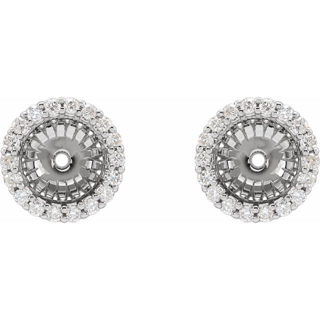 14K White 1/5 CTW Diamond Earring Jackets with 6.1 mm ID