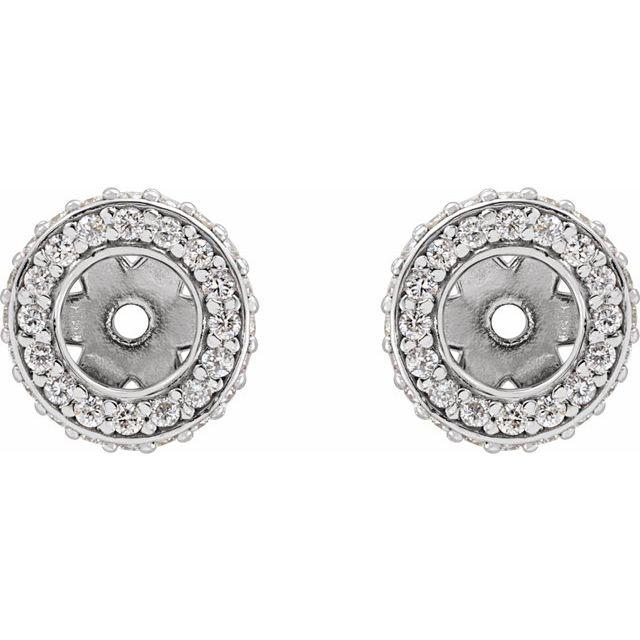 14K White 1/5 CTW Diamond Earrings Jackets with 3.5 mm ID
