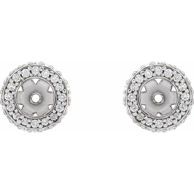 14K White 1/5 CTW Diamond Earrings Jackets with 4 mm ID