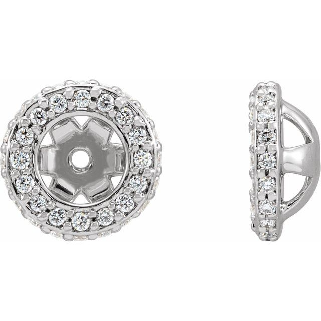 14K White 1/5 CTW Diamond Earrings Jackets with 4.5 mm ID