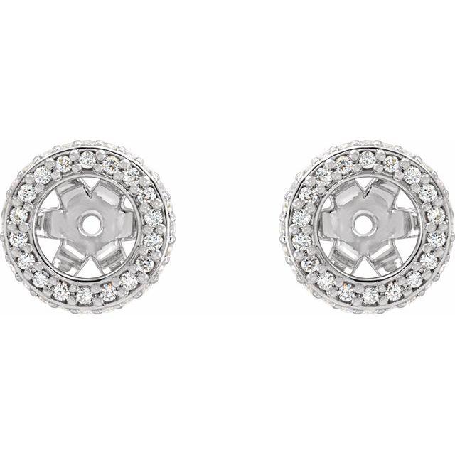 14K White 1/5 CTW Diamond Earrings Jackets with 5 mm ID