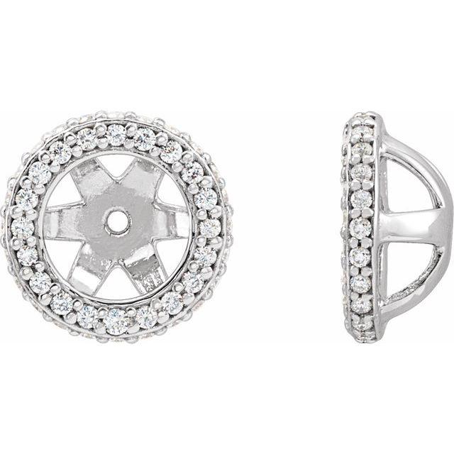 14K White 1/5 CTW Diamond Earrings Jackets with 5.5 mm ID