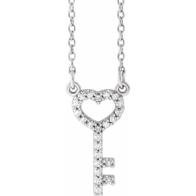 14K White 1/8 CTW Diamond Petite Heart Key 16.5