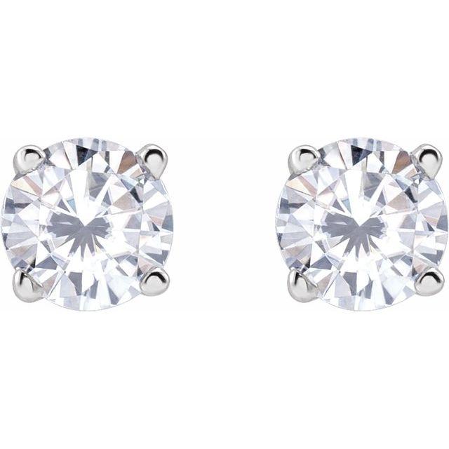 14K White 4 mm Round Stuller Lab-Created Moissanite™ Earrings