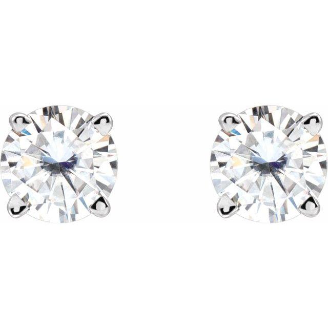 14K White 4.5 mm Round Stuller Lab-Grown Moissanite™ Earrings