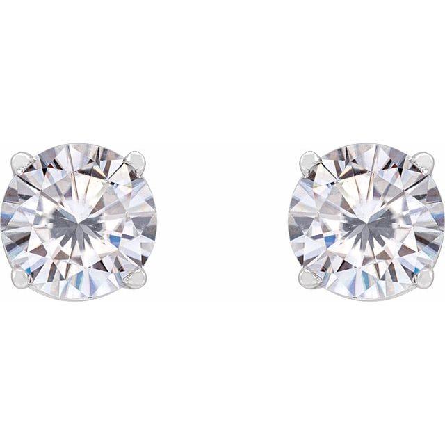14K White 5.5 mm Round Stuller Lab-Created Moissanite™ Earrings