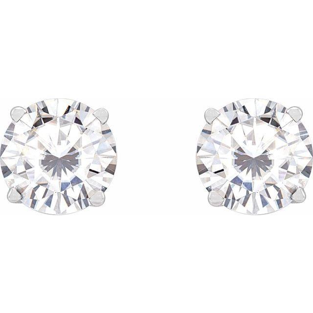 14K White 6.5 mm Stuller Lab-Grown Moissanite™ Earrings
