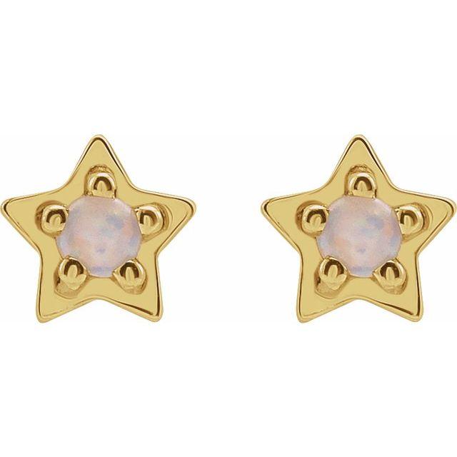 14K Yellow Opal Star Earrings