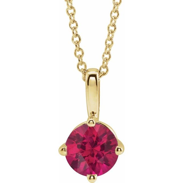 14K Yellow 5 mm Round Lab-Grown Ruby Solitaire 16-18