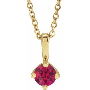 """14K Yellow 4 mm Round Lab-Grown Ruby Solitaire 16-18"""" Necklace"""