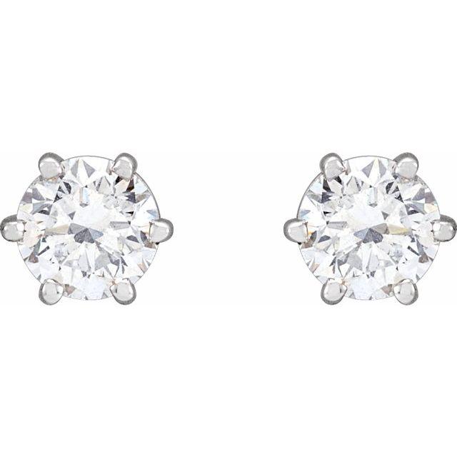 14K White 1 CTW Diamond 6-Prong Stud Earrings