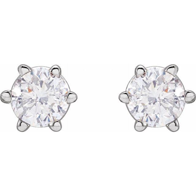 14K White 3.4 mm I2 1/3 CTW Diamond 6-Prong Wire Basket Earrings