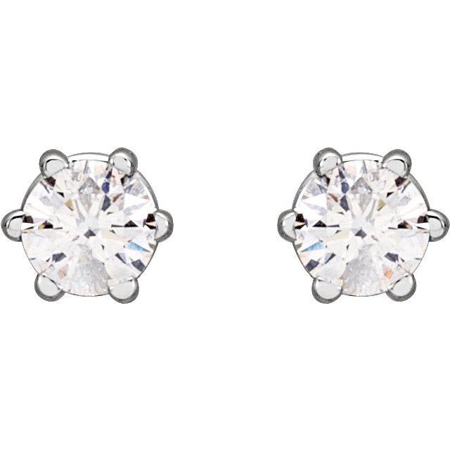 14K White 1/5 CTW Diamond 6-Prong Stud Earrings
