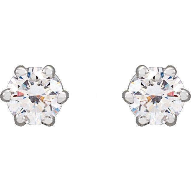 14K White 1/4 CTW Diamond 6-Prong Stud Earrings