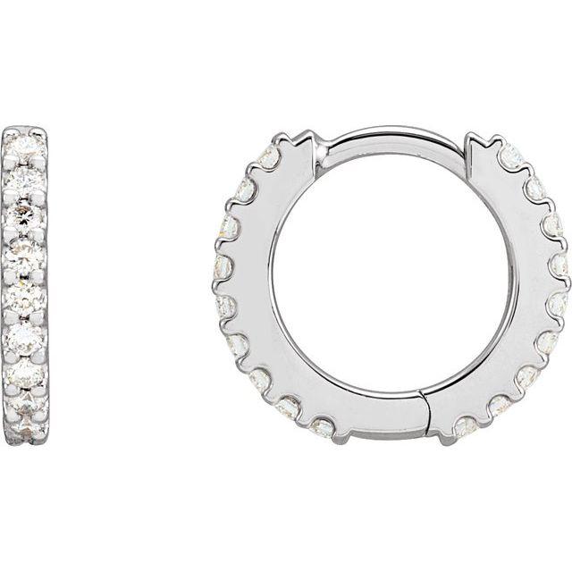 14K White 1/3 CTW Diamond 12.6 mm Huggie Earrings