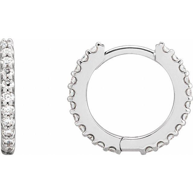 14K White 3/8 CTW Diamond 14 mm Huggie Earrings