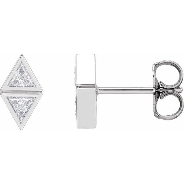 14K White 1/4 CTW Diamond Two-Stone Bezel-Set Earrings
