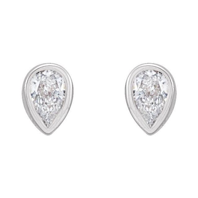14K White 1/10 CTW Diamond Micro Bezel-Set Earrings