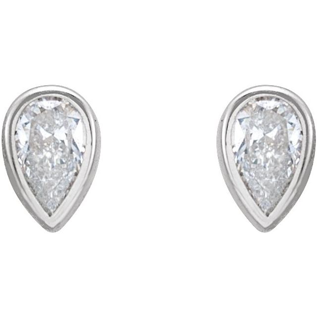 14K White 1/5 CTW Diamond Micro Bezel-Set Earrings