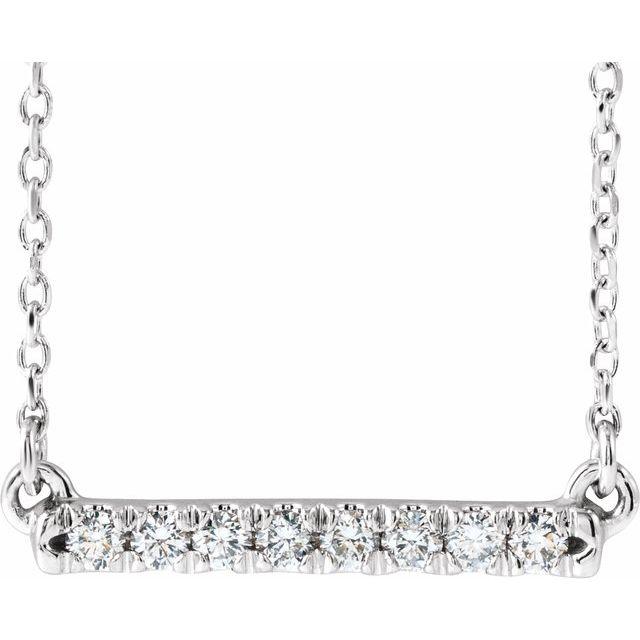 14K White 1/8 CTW Lab-Grown Diamond French-Set Bar 16-18