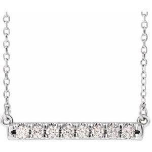 "14K White 1/4 CTW Diamond French-Set Bar 18"" Necklace"