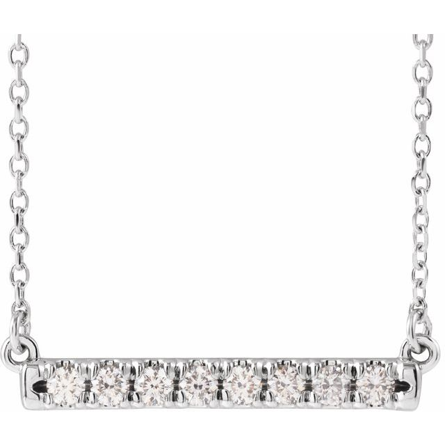 14K White 1/4 CTW Diamond French-Set Bar 16