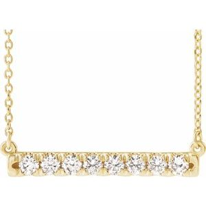 "14K Yellow 1/4 CTW Lab-Grown Diamond French-Set Bar 16-18"" Necklace"