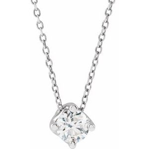"""14K White 1/2 CT Natural Diamond Solitaire 16-18"""" Necklace"""