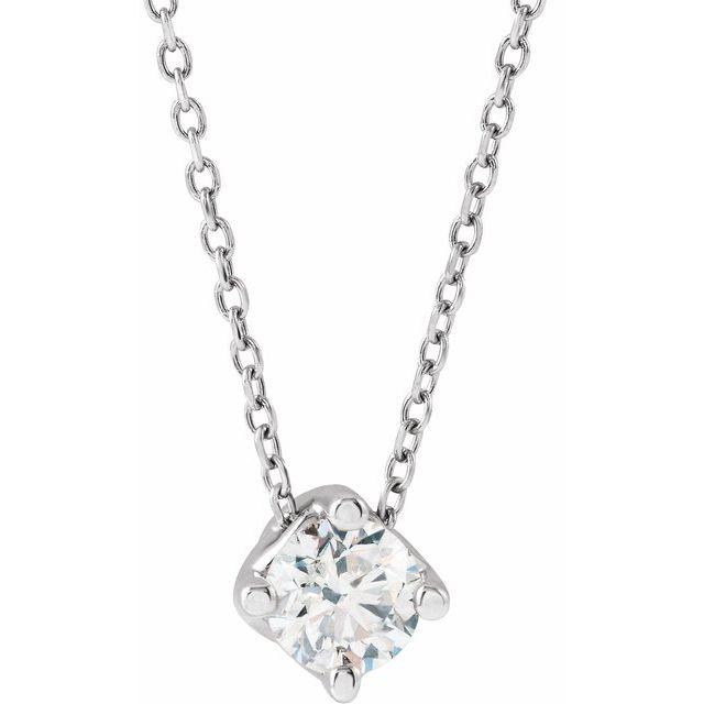 14K White 1/2 CT Natural Diamond Solitaire 16-18