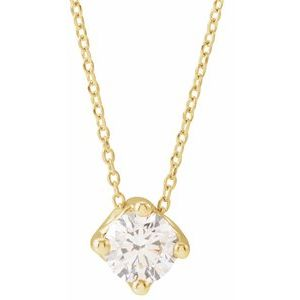 """14K Yellow 1/2 CT Diamond Solitaire 16-18"""" Necklace"""