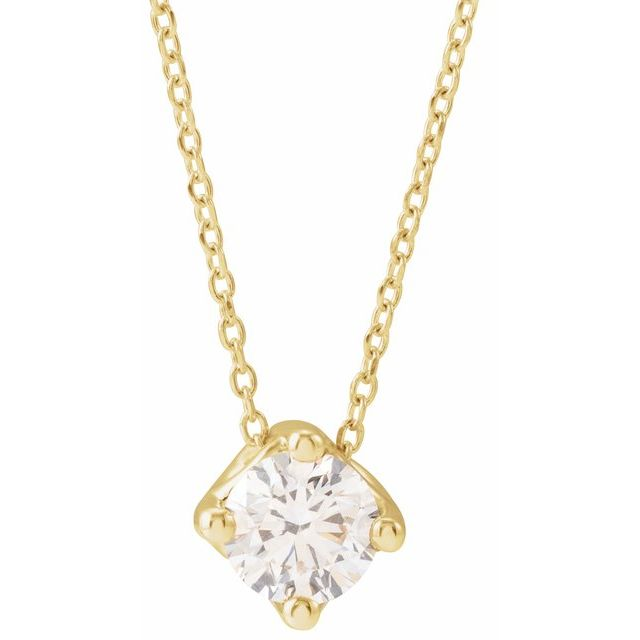 14K Yellow 1/2 CT Diamond Solitaire 16-18