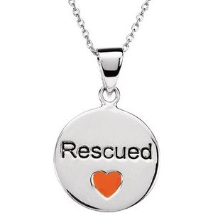 "Sterling Silver Heart U Back™ Rescue 18"" Necklace"