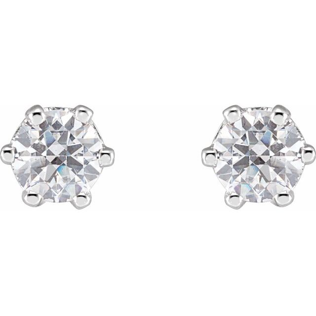 14K White 4 mm Round Cubic Zirconia Earrings