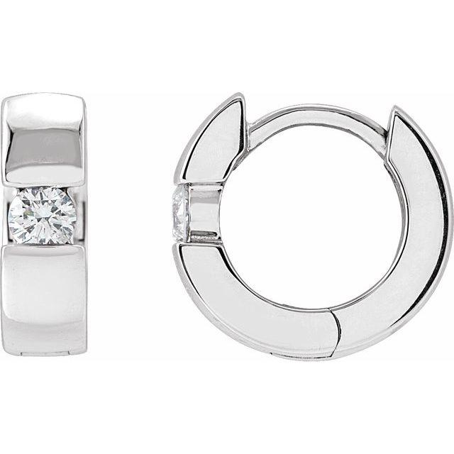 14K White 1/5 CTW Diamond 12 mm Huggies
