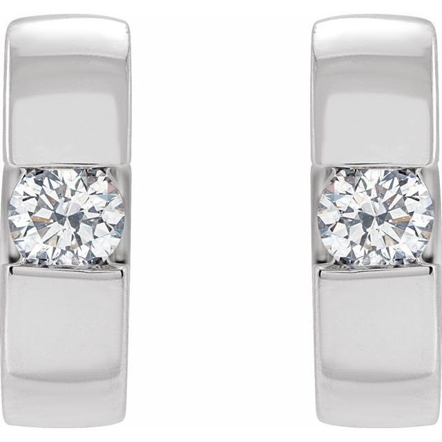 14K White 12 mm 1/4 CTW Natural Diamond Hinged Huggie Earrings