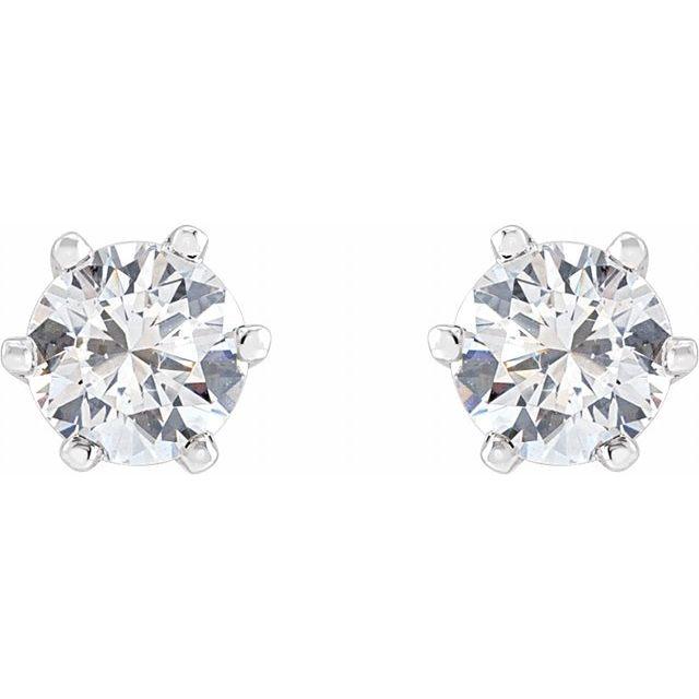 14K White 4.4 mm Imitation Cubic Zirconia Stud Earrings