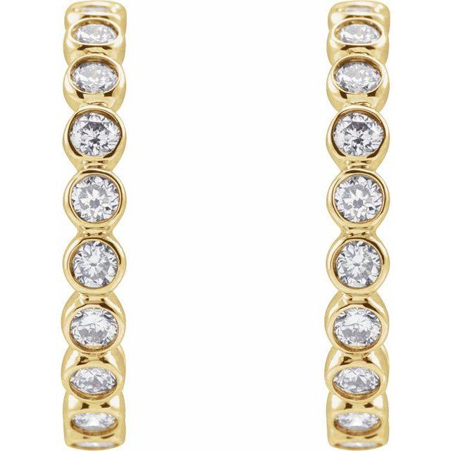 14K Yellow 3/8 CTW Lab-Grown Diamond Huggie Earrings