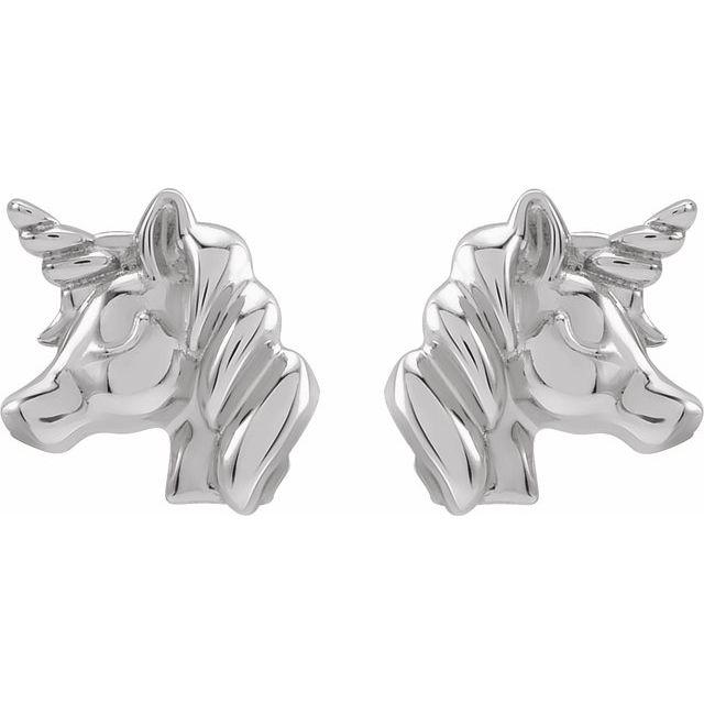 Sterling Silver Youth Unicorn Earrings