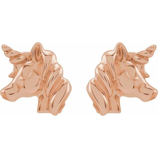 14K Rose Youth Unicorn Earrings