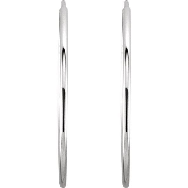 14K White 24 mm Endless Hoop Earrings