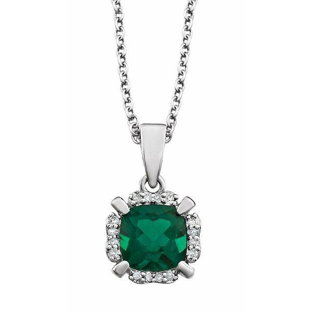 14K White Lab-Grown Emerald & .05 CTW Natural Diamond 18